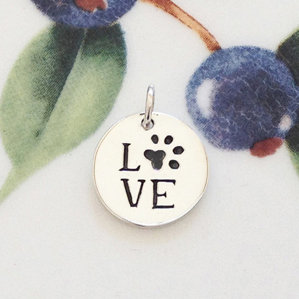 Silver Love with Paw Print Charm