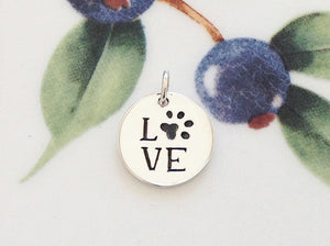 Silver Love with Paw Print Charm - Specialty Beads