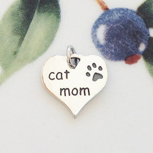 Silver Mom of Cat Heart Charm