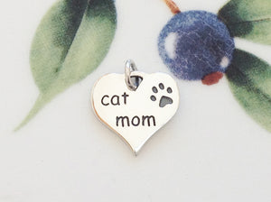 Silver Mom of Cat Heart Charm - Specialty Beads