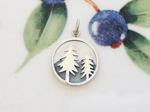 Silver Mountains and Trees Pendant - Specialty Beads