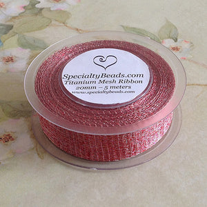 Titanium Mesh Ribbon, Silver Red Rose, 5 Meter Spools - Specialty Beads