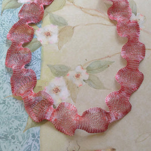 Titanium Mesh Necklace, Silver Red Rose - Specialty Beads