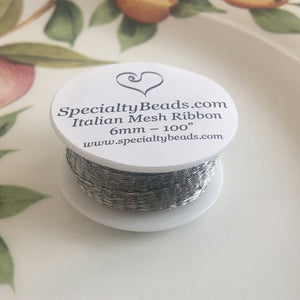 "Italian Mesh Ribbon, Silver, 100"" Spool or 5 Yard Spool - Specialty Beads"
