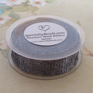 Titanium Mesh Ribbon, Silver, 1 Meter Length - Specialty Beads