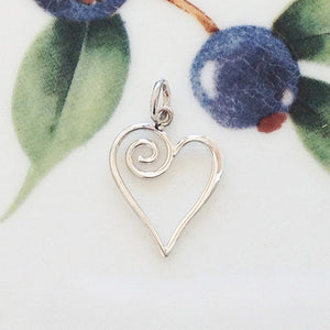 Silver Swirl Heart Charm - Specialty Beads