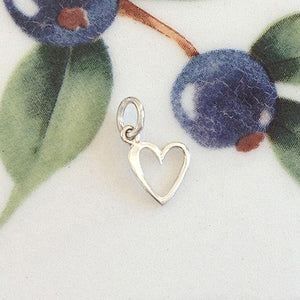 Silver Tiny Open Heart Charm - Specialty Beads