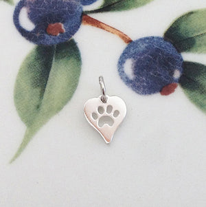 Silver Tiny Paw Print Heart Charm - Specialty Beads