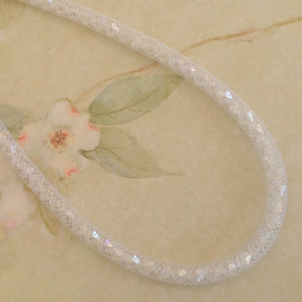 Snow White Crystal Mesh Necklace