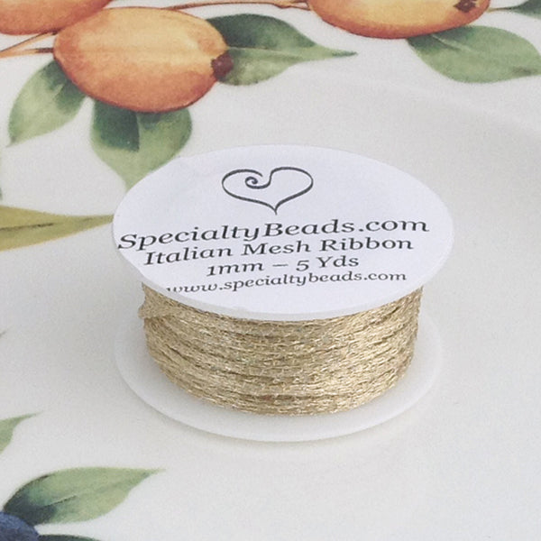 Italian Mesh Ribbon, Soft Gold, 1mm, 5 Yard Spool