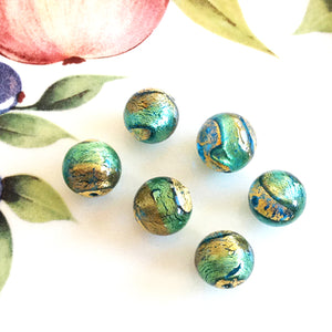 Brilliant Swirl Venetian Round Bead, Acqua Oro, 10mm