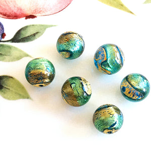 Brilliant Swirl Venetian Round Bead, Acqua Oro, 12mm