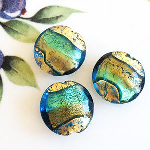 Brilliant Swirl Venetian Disc Bead, Acqua Oro, 20mm