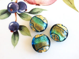 Brilliant Swirl Venetian Disc Bead, Acqua Oro, 16mm