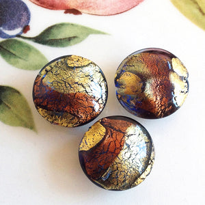Brilliant Swirl Venetian Disc Bead, Bluino Ametista, 20mm
