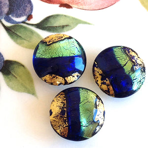 Brilliant Swirl Venetian Disc Bead, Farfalla Blu, 20mm