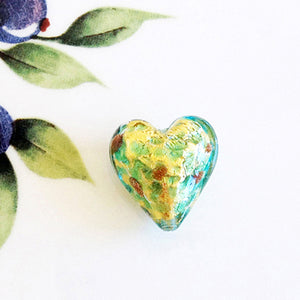 Sparkle Venetian Heart Bead, Aqua, 20mm - Specialty Beads