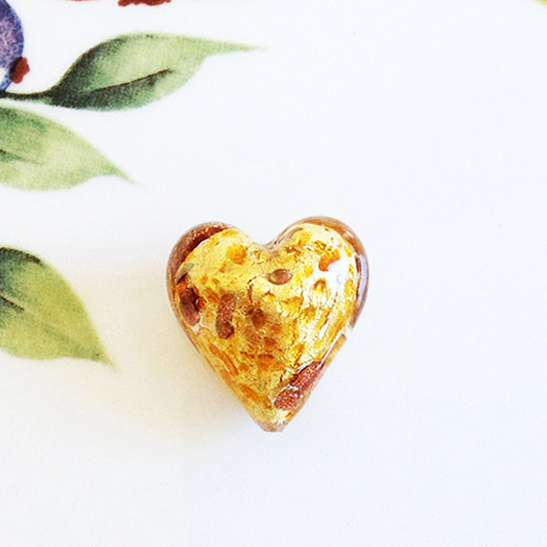 Sparkle Venetian Heart Bead, Caramel, 20mm