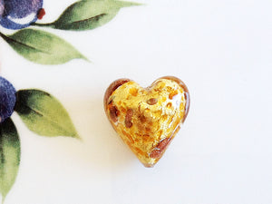 Sparkle Venetian Heart Bead, Caramel, 20mm - Specialty Beads