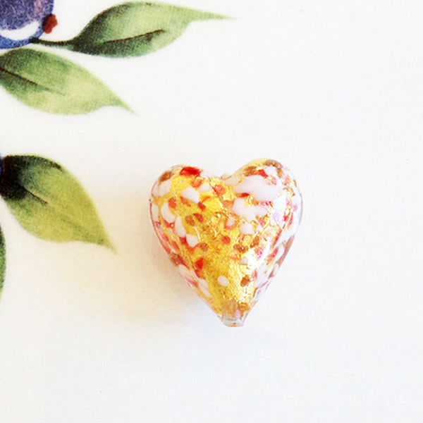 Sparkle Venetian Heart Bead, Pink, 20mm