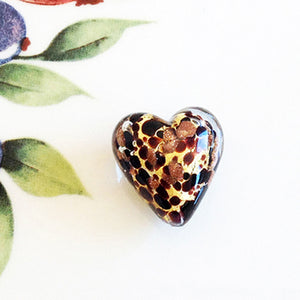 Sparkle Venetian Heart Bead, Topaz, 20mm