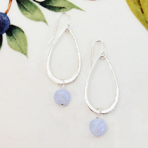 Sterling Silver Blue Lace Agate Teardrop Earrings - Specialty Beads