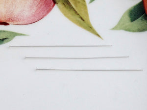 "Sterling Silver 2"" Head Pins, Package of 20"