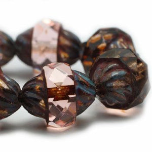 Antique Pink Turbine Czech Beads - Specialty Beads
