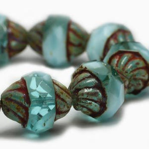 Aquamarine Crystaline Turbine Czech Beads - Specialty Beads
