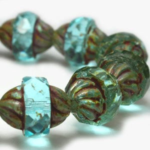 Aquamarine Turbine Czech Beads - Specialty Beads