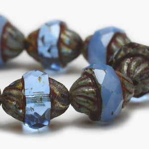 Cornflower Turbine Czech Beads - Specialty Beads