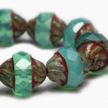 Milky Aquamarine Turbine Czech Beads