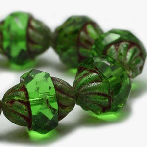 Peridot Turbine Czech Beads - Specialty Beads