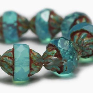 Turquoise Opalite Turbine Czech Beads - Specialty Beads