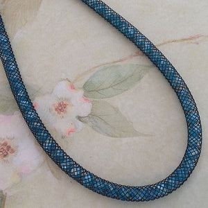 Teal Stardust Crystal Mesh Necklace - Specialty Beads