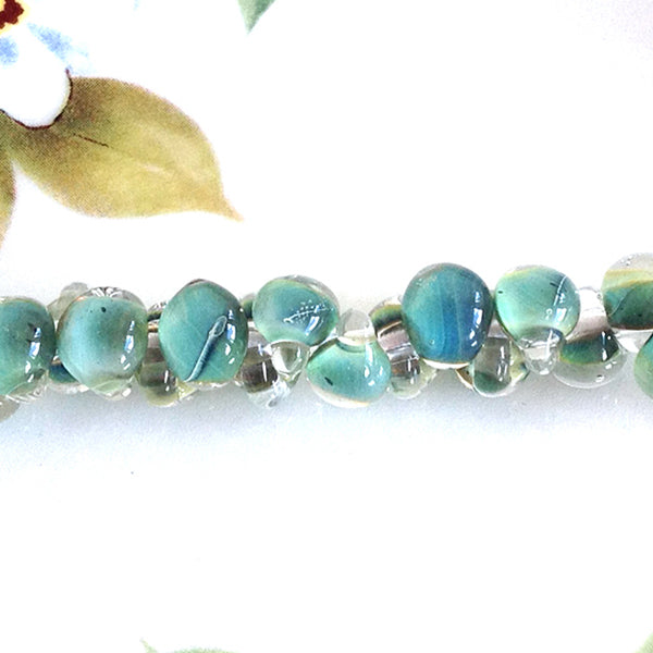 Sea Green Blue Lampwork Teardrop Beads