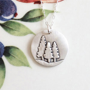 Three Pine Trees Silver Necklace