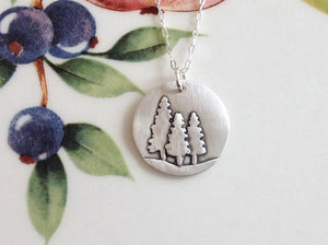 Three Pine Trees Silver Necklace - Specialty Beads