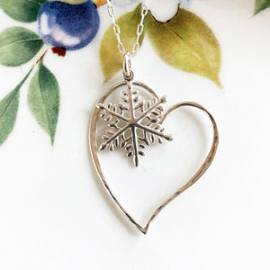 Snowflake Heart Necklace