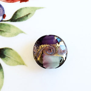 Lovely Swirl Venetian Disc Bead, Purple, 20mm