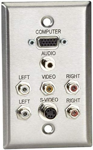 AV Stainless Wallplate, Single Gang, 1 VGA HD15 F, 1 S Video F, 1 35mm F, 5 RCA
