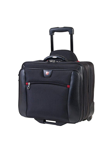 Swiss Gear International Carry-On Size Wheeled Case - Holds Up to 15.6-Inch Laptop and fits 7-Inch Tablet, Black