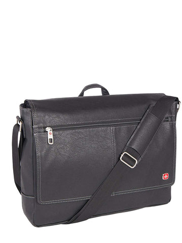 Swiss Gear Pebble Grain Faux Leather 15.6-Inch Messenger Bag, Black, International Carry-on
