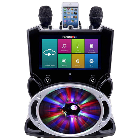 Karaoke USA Wi-Fi Bluetooth Karaoke Machine with 9in Touch Screen, Recording and Bluetooth S