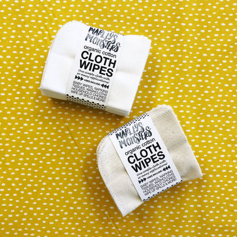 Cloth Wipes Organic - Marley's Monsters - ZeroWasteSociety