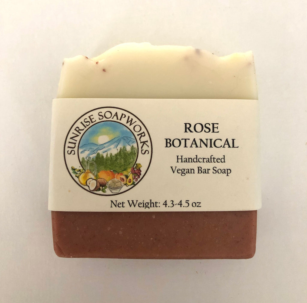 Rose Botanical Vegan Bar Soap - Sunrise Soapworks - ZeroWasteSociety