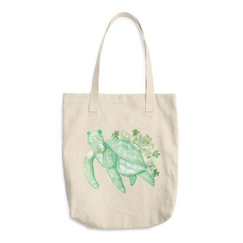 Tote Bag Green Turtle Succulent - Kimposed - ZeroWasteSociety