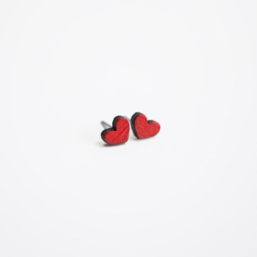 Red Heart Wooden Earring Studs - Tiny Lumber - ZeroWasteSociety