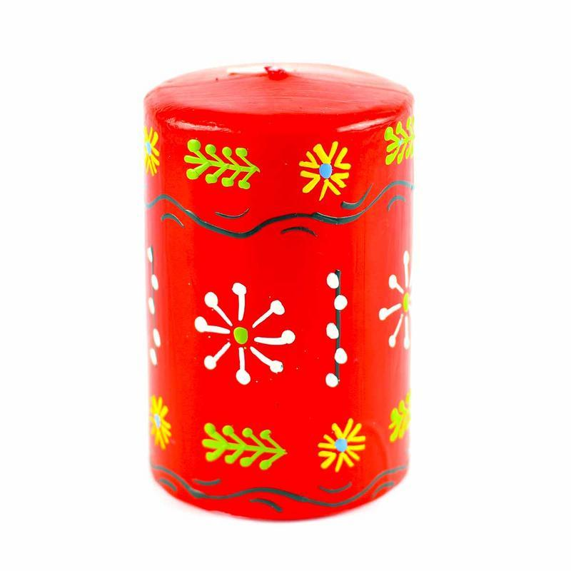 Hand Painted Candles in Red Masika Design (pillar) - Nobunto - Urban Hollywood | UrbanHollywood.com