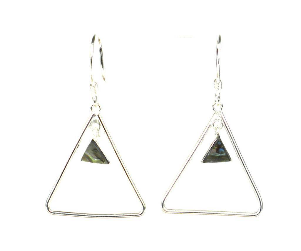 Silver Triangle Abalone Earrings - Artisana - Urban Hollywood | UrbanHollywood.com